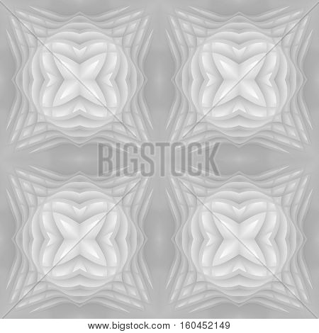 3d illustration. Vintage 3d white seamless texture based on relief geometric square flower pattern based on curve shape disappearing into the background. Render.
