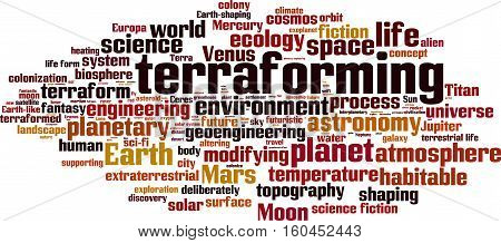 Terraforming word cloud concept. Vector illustration on white