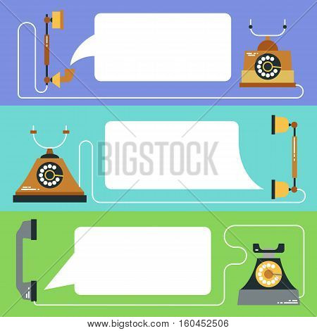 Retro telephone with speech bubble for your text set. Vector phone call flat style illustration. Connection information. Old telephone banner. Vintage design background.