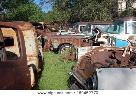 Old cars in salvage yard in texas