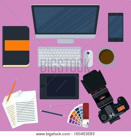 Vector illustration of a workplace designer. Stock vector