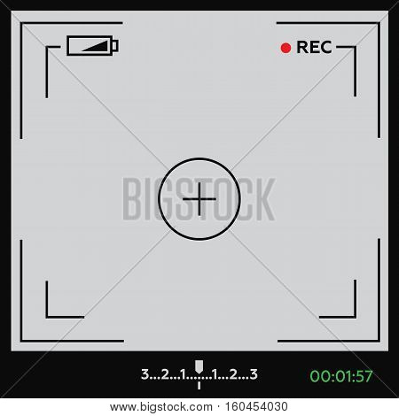 Camera viewfinder. Template focusing screen of the camera. Viewfinder camera recording