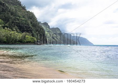 The coast along Kee Beach in Kauai, Hawaii