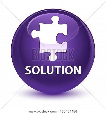Solution (puzzle Icon) Glassy Purple Round Button