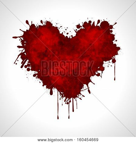 Illustration red heart on a white background as a symbol of love.