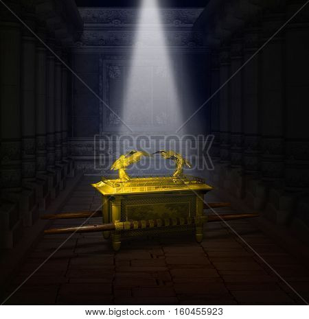 3D illustration of the Ark of the Covenant inside the Holy Temple illuminated by a shaft of light from heaven.