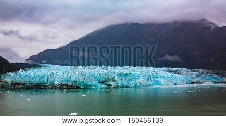 Hubbard Glacier, Alaska, USA - Sept. 11, 2016: Located in eastern Alaska and part of Yukon Canada.  This tidewater glacier is located off the coast of Yakutat--200 miles NW of Juneau Alaska. It's more than six miles wide as it enters the ocean.
