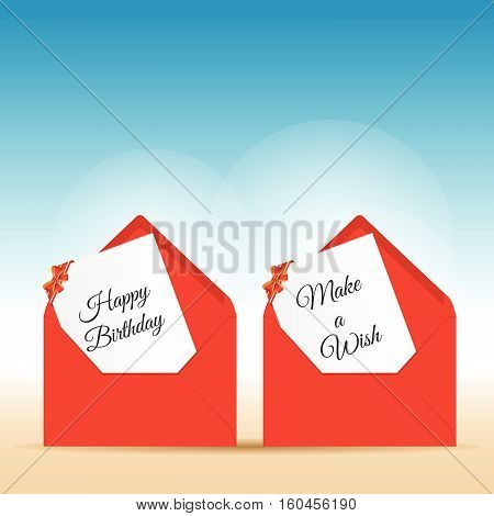 Happy Birthday With Wishes In Red Letter Envelope Design Illustraton
