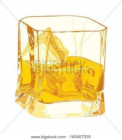 Glass with whiskey and ice scottish brandy alcoholic liquor