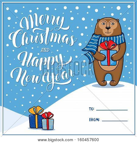 Merry Christmas and Happy New Year greeting card with monkey, gifts, snow, lettering and place for signing To and From, cartoon vector illustration. Xmas and New Year greeting card design with monkey