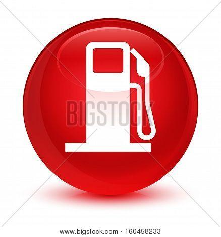 Fuel Dispenser Icon Glassy Red Round Button