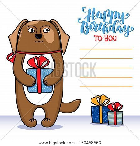 Happy birthday greeting card with dog holding a gift, lettering and lines for congratulations and signature, cartoon vector illustration. Happy birthday greeting card design with funny dog and gifts