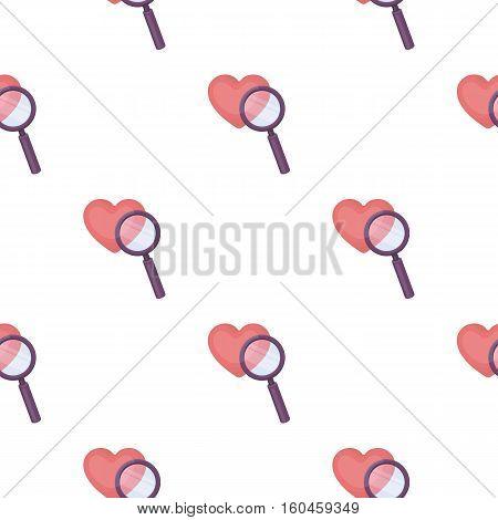 Searching a love icon in cartoon style isolated on white background. E-commerce symbol vector illustration.