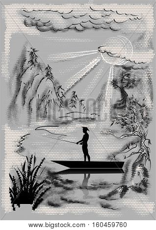 Landscape with fisherman and abstract sun and moon