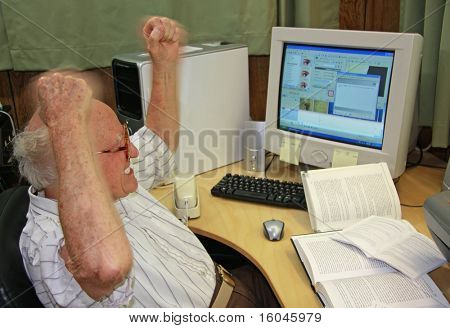 Frustrated Senior at Computer