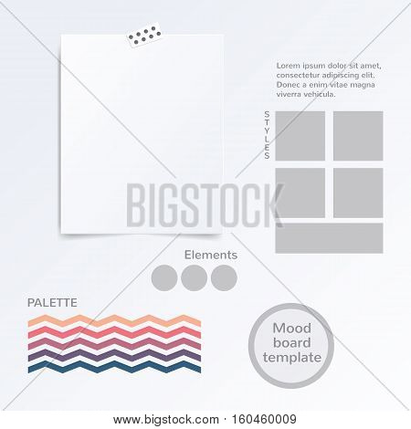 Vector mood board template with color palette isolated on white background.
