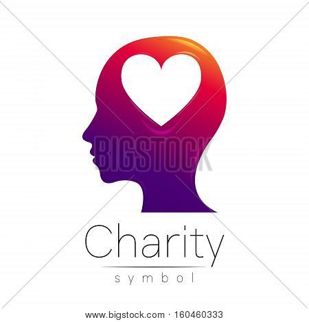 Vector illustration. Symbol of Charity. Sign head heart isolated on white background.Violet Icon company, web, card. Modern bright element. Charity for orphans Help kids campaign. Family children image
