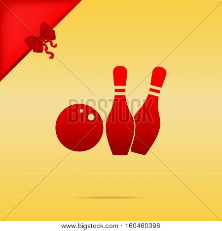 Bowling Sign Illustration. Cristmas Design Red Icon On Gold Back