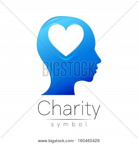 Vector illustration. Symbol of Charity. Sign head heart isolated on white background.Blue Icon company, web, card. Modern bright element. Charity for orphans Help kids campaign. Family children image