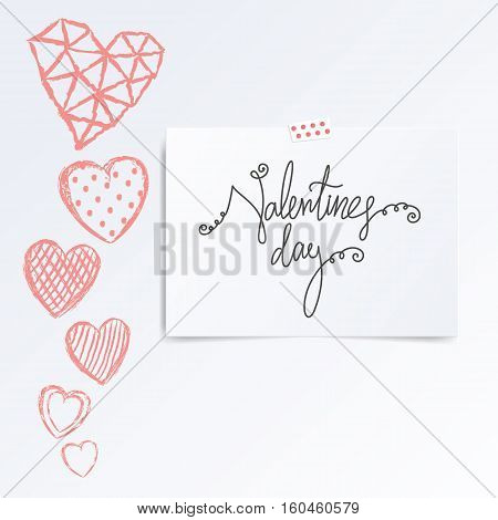 Folded in half leaflet with valentines day quote. Mock up template vector illustration isolated on white. Set of hand drawn red hearts with cells, polka dots, triangles, lines on white background. Greeting card concept.