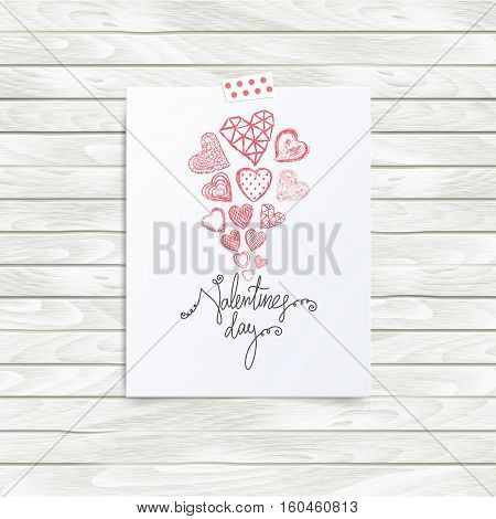 Folded in half sheet of paper with valentines day quote and set of red hearts. Mock up template vector illustration isolated on wooden background. Set of hand drawn red hearts with cells, polka dots, triangles, lines. Flyer, booklet, poster concept.