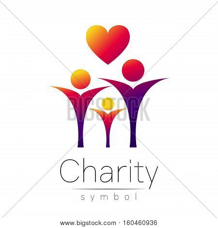 Vector illustration. Symbol of Charity. Sign people heart isolated on white background.Violet Icon company, web, card. Modern bright element. Charity for orphans Help kids campaign. Family children image