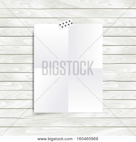 Vector mock up illustration with folded in four empty blank. Mood board template isolated on wooden background.