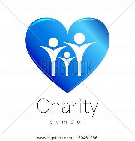 Vector illustration. Symbol of Charity. Sign people heart isolated on white background.Blue Icon company, web, card. Modern bright element. Charity for orphans Help kids campaign. Family children image