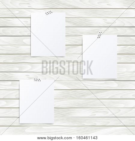 Set of vector white Note paper on the wooden wall. Hipster mood board template. Mock up.