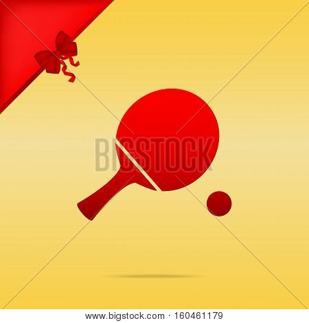 Ping Pong Paddle With Ball. Cristmas Design Red Icon On Gold Bac