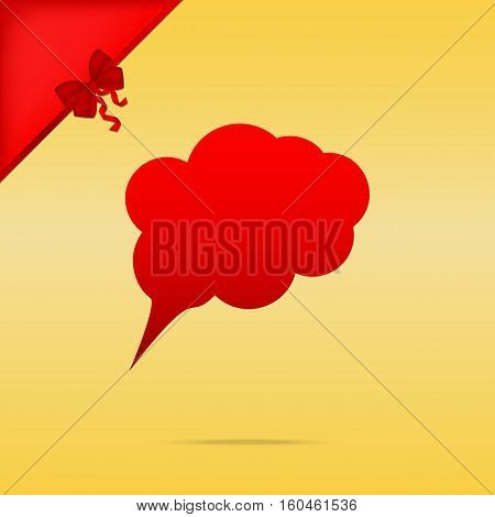 Speach Bubble Sign Illustration. Cristmas Design Red Icon On Gol