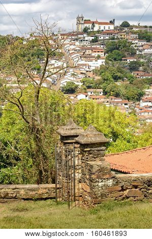 Partial view of the city of Ouro Preto in Minas Gerais with their historic homes buildings and churches