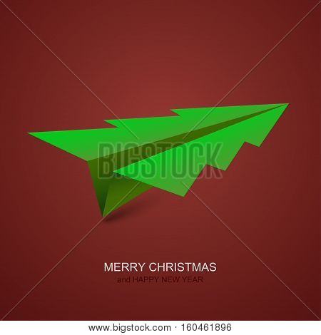 Vector modern concept christmas tree and origami airplane. Xmas background