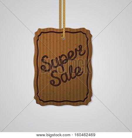 SUPER SALE lettering on paperboard labels vector illustration.