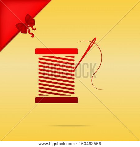 Thread With Needle Sign Illustration. Cristmas Design Red Icon O