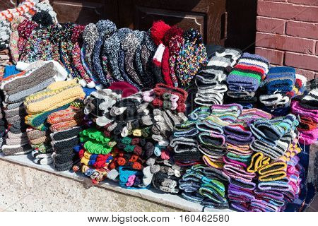 Nepalese handmade knitted hats and mittens, Katmandu