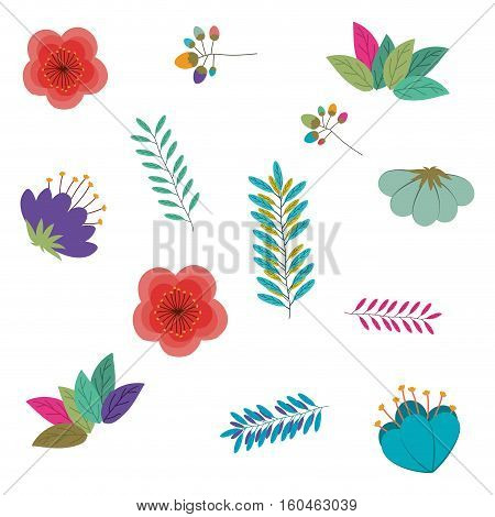 Tropical flowers and leaves icon. Garden nature plant and botany theme. Vector illustration