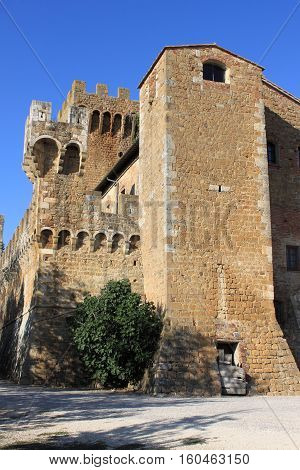 Spedaletto Castle in Val d'Orcia. Tuscany, Italy