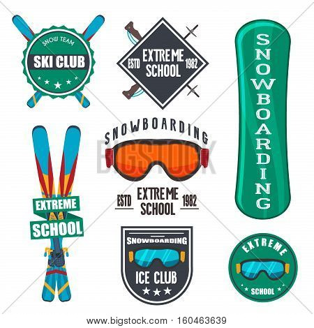 Vintage snowboarding or winter sports logo badges emblems design. Vector ski logo. Winter snowboard sport store badge. Snowboarder mountain adventure insignia. Snowboarding extreme label.