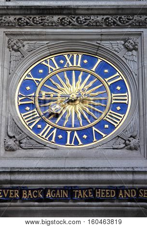 Detailed view of Liberty clock in London, UK