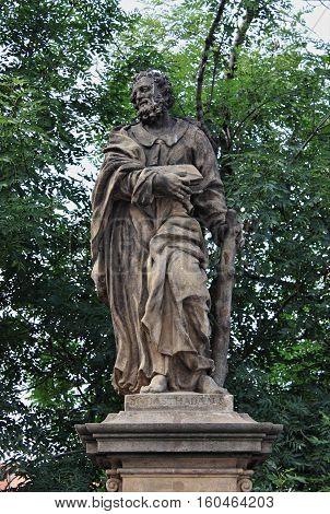 Statue of St. Judas Thaddeuson the Charles Bridge in Prague Czech Republic