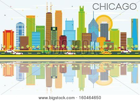 Chicago Skyline with Color Buildings and Reflections. Vector Illustration. Business Travel and Tourism Concept with Modern Architecture. Image for Presentation Banner Placard and Web Site.