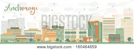 Abstract Anchorage Skyline with Color Buildings. Vector Illustration. Business Travel and Tourism Concept with Modern Architecture. Image for Presentation Banner Placard and Web Site.