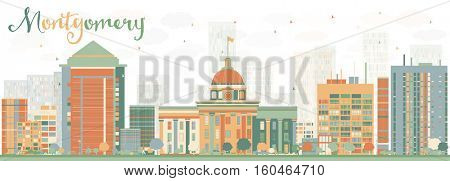Abstract Montgomery Skyline with Color Buildings. Vector Illustration. Business Travel and Tourism Concept with Modern Architecture. Image for Presentation Banner Placard and Web Site.