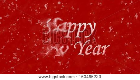 Happy New Year Text Turns To Dust From Left On Red Background
