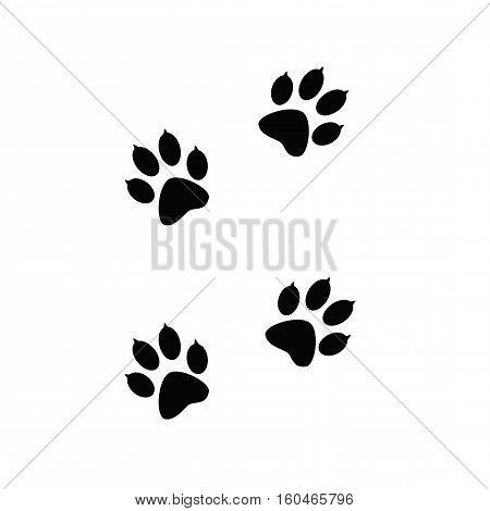 Black paw prints  of animal on white. Animal tracks on a white isolated background.