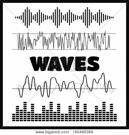 Vector Sound Waveforms. Sound waves and musical icons