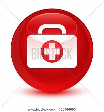 First Aid Kit Bag Icon Glassy Red Round Button