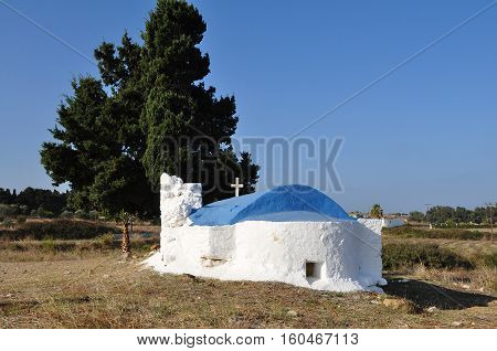 Traditional orthodox greek chapel at Kos island in Greece