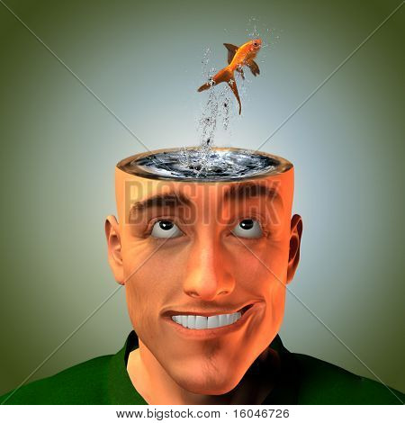 Man with living liquid mind